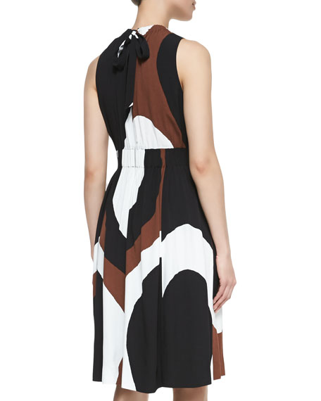 rio swirl-print back-tie dress