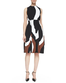 kate spade new york rio swirl-print back-tie dress