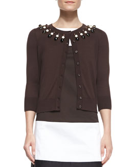 kate spade new york rio embellished-neck cardigan