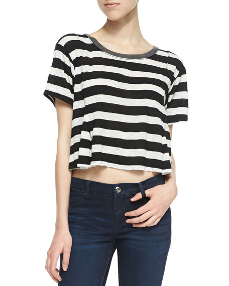 Keeping It Real Striped Crop Tee, Black/White