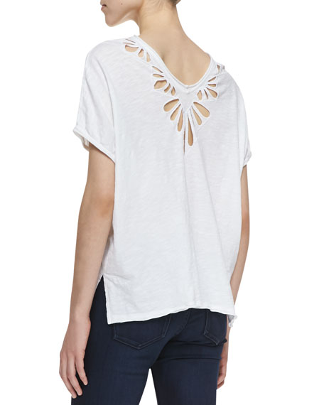 Petal Cutwork Double-V Tee, White