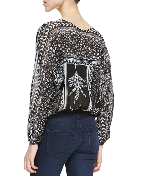 Yo Yo Geometric Flora Print Top, Black/White