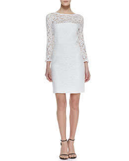 4.collective Rose Lace Illusion Dress, White