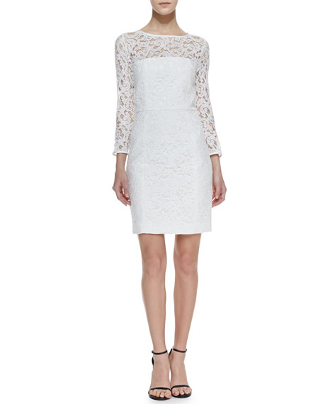 Rose Lace Illusion Dress, White