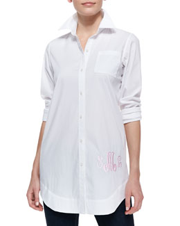 Neiman Marcus Monogram Boyfriend Long Oxford Shirt