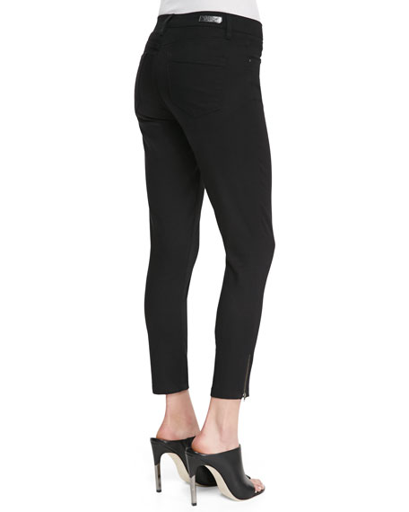 Skinny Cropped Zip-Ankle Jeans, Black