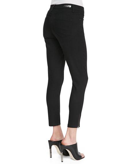 Skinny Cropped Zip-Ankle Jeans, Black