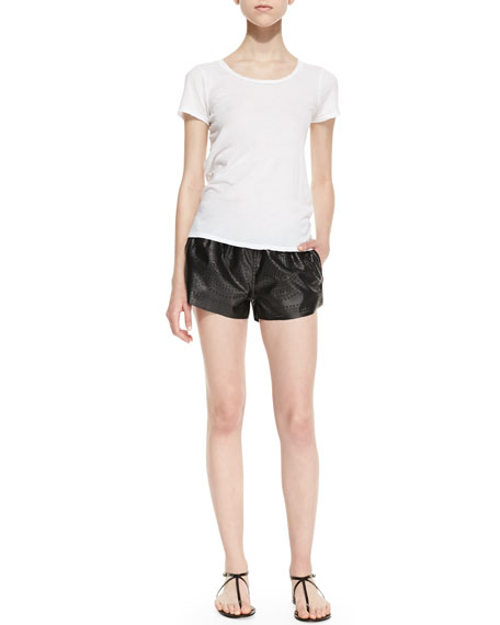 Dark Side Floral Perforated Faux-Leather Shorts, Black