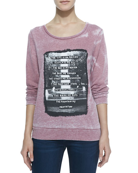 Novelty Graphic Print Burnout Sweatshirt, Red