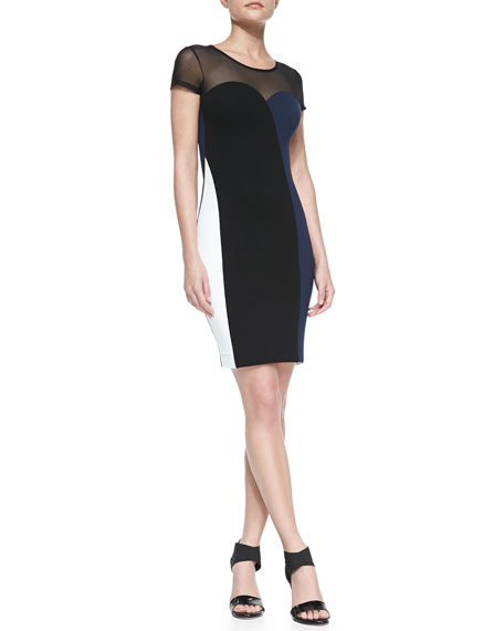 Rio Colorblocked Combo Sheath Dress, Black/White/Navy