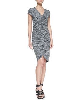 French Connection Fast Summer Space-Dyed Wrap Dress, Black/White