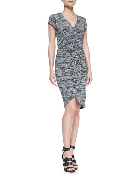 Fast Summer Space-Dyed Wrap Dress, Black/White