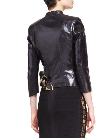 Leather Double-Zip Metal-Trim Jacket