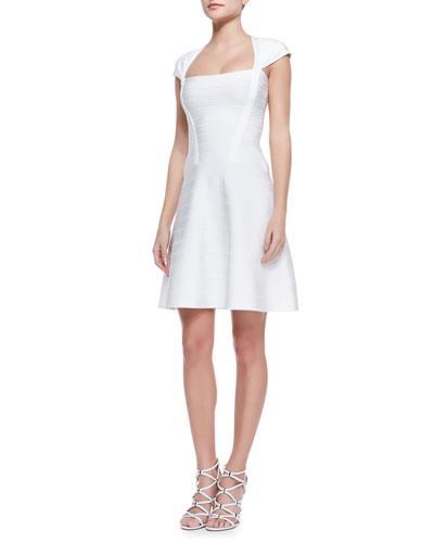 Herve Leger Nahla Banded-Knit Cap-Sleeve Flare Dress