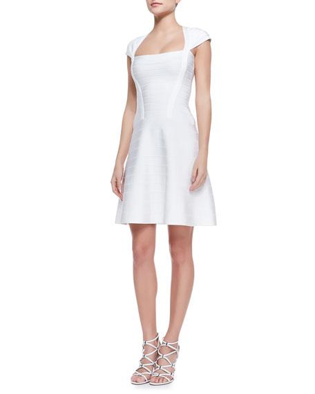 Nahla Banded-Knit Cap-Sleeve Flare Dress