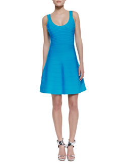 Herve Leger Eva Scoop-Neck Bandage Dress, BT Turquoise