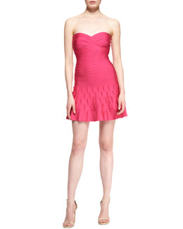 Herve Leger Arlene Strapless Sweetheart-Neck Bandage Cocktail Dress