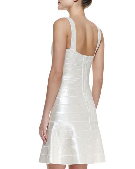 Jacklyn Square-Neck Bandage Dress, Alabaster