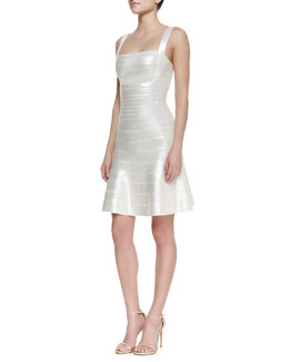 Herve Leger Jacklyn Square-Neck Bandage Dress, Alabaster