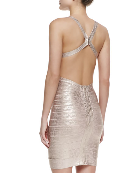 Marina Foiled Dress, Rose Gold Combo