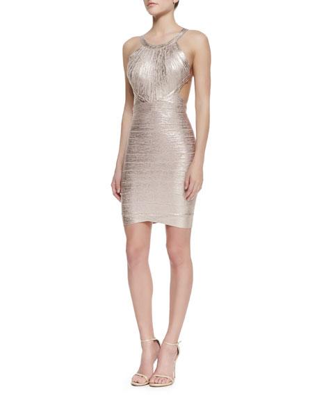 Marina Foiled Dress, Rose Gold Combo