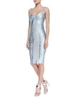 Herve Leger Judith Foiled Metallic Bandage Dress