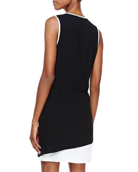 Bibe Crepe Colorblock Wrap Dress
