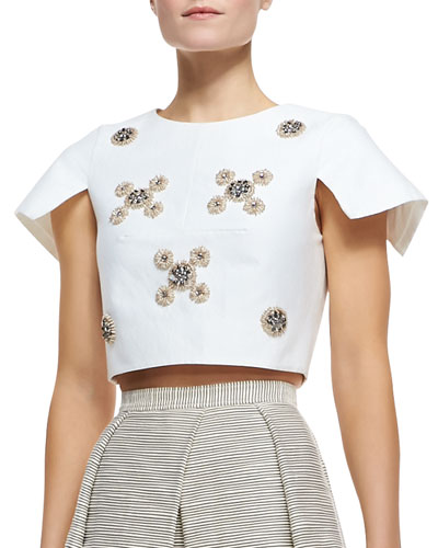 Tibi Cropped Bead Cluster Top, Ivory