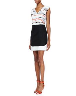 Tibi Grand Design Printed-Top Sleeveless Dress, Multicolor