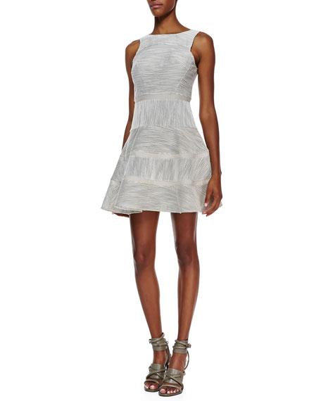 Raffia Stripe Flounce-Skirt Dress