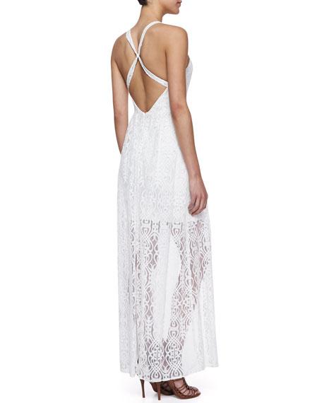 Your Azure Hue Lace & Crepe Split-Front Dress