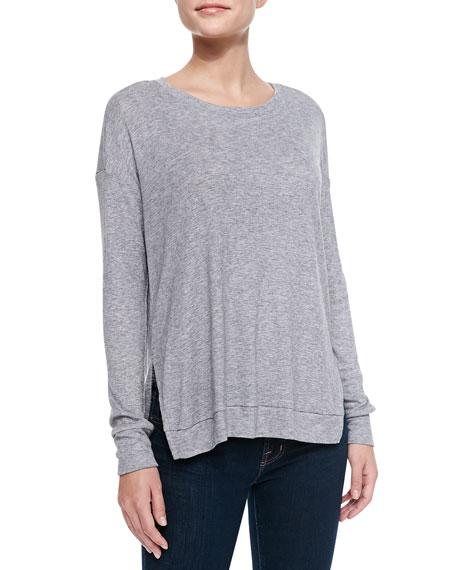 Long-Sleeve Side-Slit Jersey Top