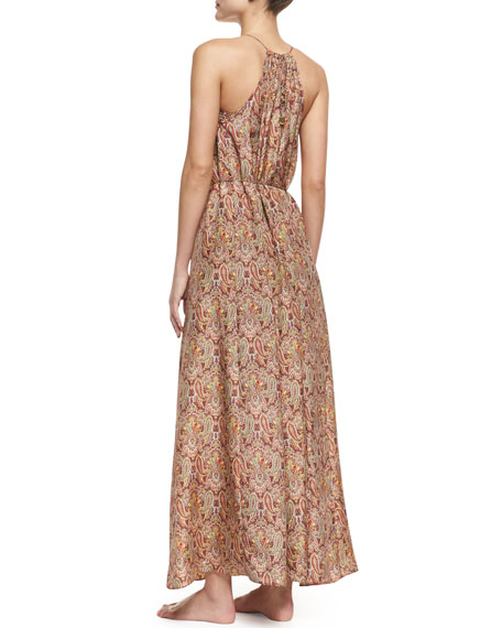 Sundown Silk Paisley Halter Coverup Maxi Dress