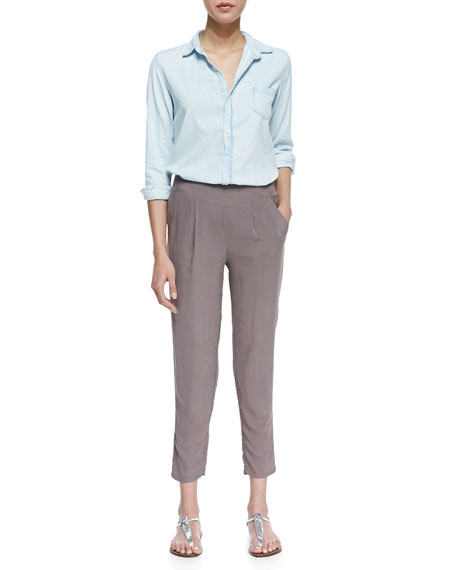 Stone Solid Easy Pleat Pants, Light Gray