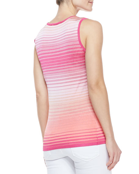 Ombre Open-Stitch Knit Sleeveless Shell