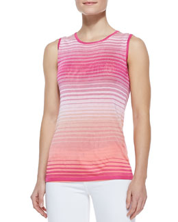 Magaschoni Ombre Open-Stitch Knit Sleeveless Shell