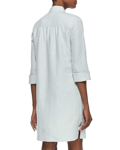 3/4-Sleeve Linen Shirtdress