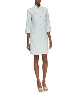 Magaschoni 3/4-Sleeve Linen Shirtdress