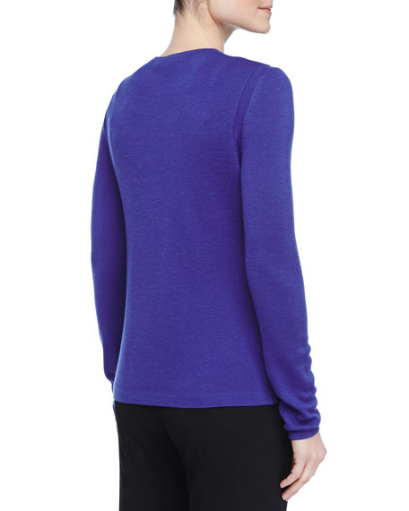 Long-Sleeve Classic Knit Sweater, Royal Blue