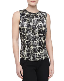 Carolina Herrera Checked Charmeuse Blouse, Vanilla/Black