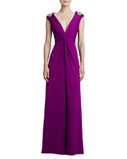 Aidan Mattox Beaded-Shoulder V-Neck Twist Gown