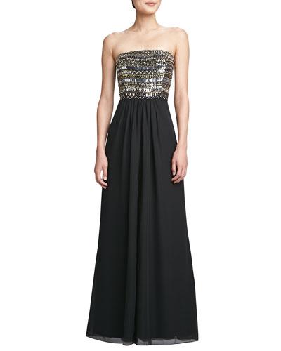 Aidan Mattox Strapless Chiffon High-Slit Gown, Black