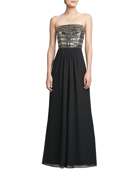 Strapless Chiffon High-Slit Gown, Black