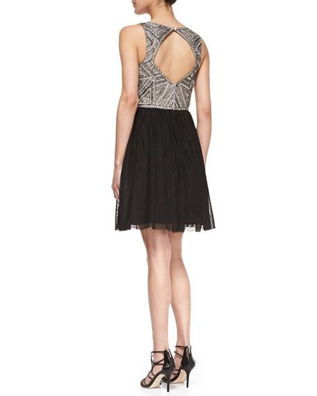 Sleeveless Beaded Bodice Cocktail Dress