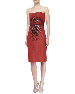 Carolina Herrera Strapless Beaded Duchesse Cocktail Dress, Cider