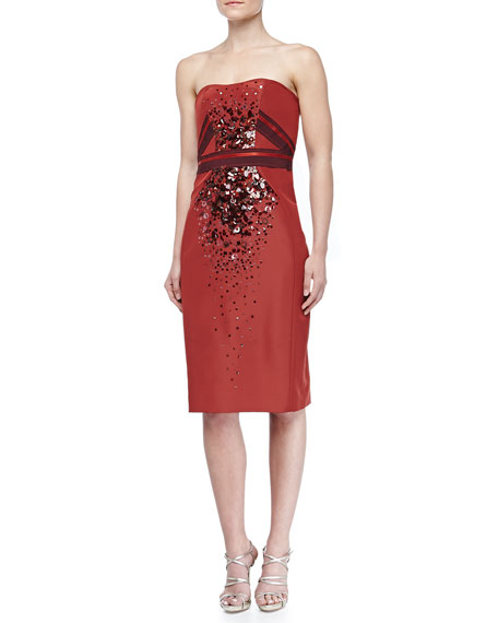 Strapless Beaded Duchesse Cocktail Dress, Cider