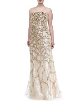 Carolina Herrera Strapless Allover Beaded Sequin Gown, Champagne