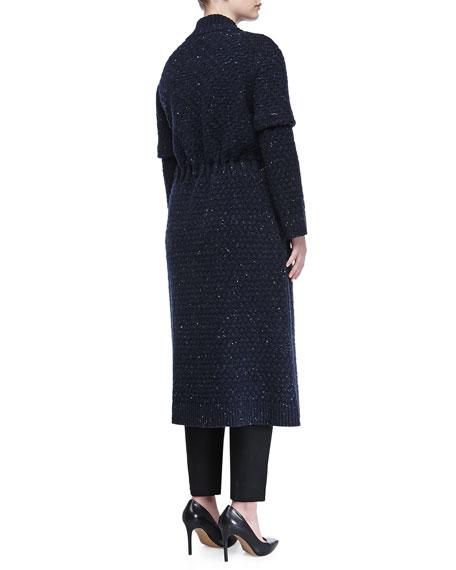 Textured Wool-Blend Ribbon-Belted Coat, Indigo
