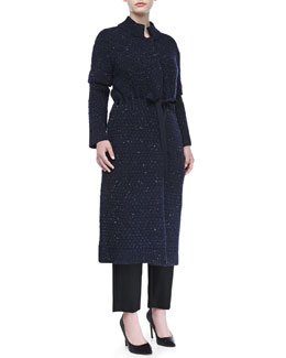 Carolina Herrera Textured Wool-Blend Ribbon-Belted Coat, Indigo