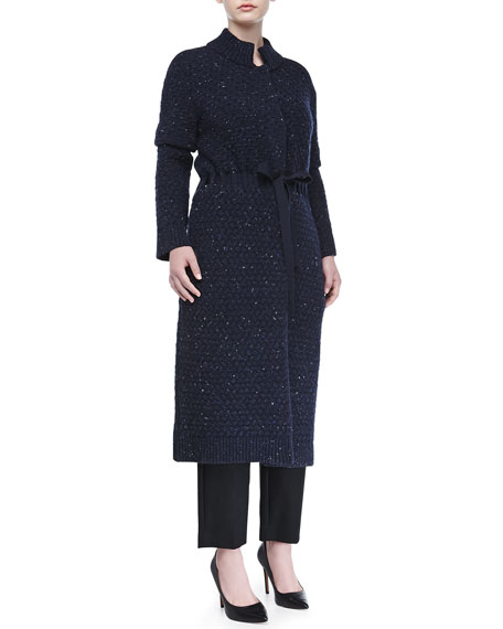Textured Wool-Blend Ribbon-Belted Coat, Indigo